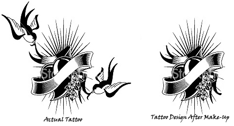 Changed Tattoo Design with Make-up